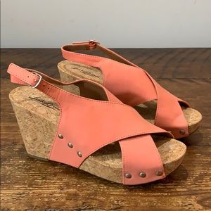 Lucky Brand Criss Criss Open Tie Wedge Sandals